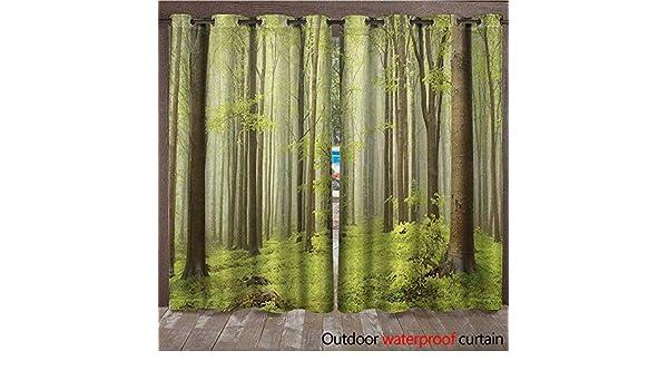 BlountDecor Woodland - Cortina para Interiores y Exteriores, diseño de Bosque en Golitha Falls Nature Reserve on The River Fowey Cornwall EnglandW108 x L96, Color Verde y marrón: Amazon.es: Jardín