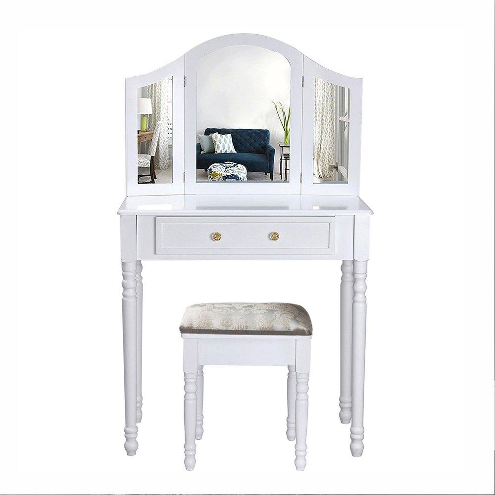 Maquillage Coiffeuse Blanc Coiffeuse avec miroir et tabouret meubles de chambre à coucher 1 Drawer 3 Mirror and Stool blanc Joolihome
