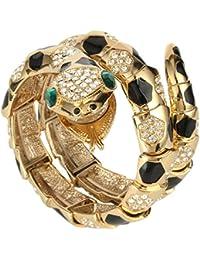 Austrian Crystal Enamel Art Deco Snake Bangle Bracelet