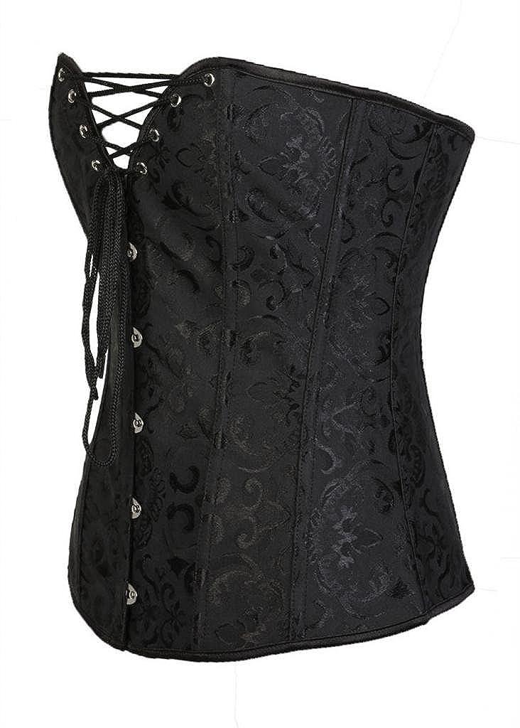 Lotsyle Steel Boned Brocade Corset Lace up Back Bustier Hot Shapewear