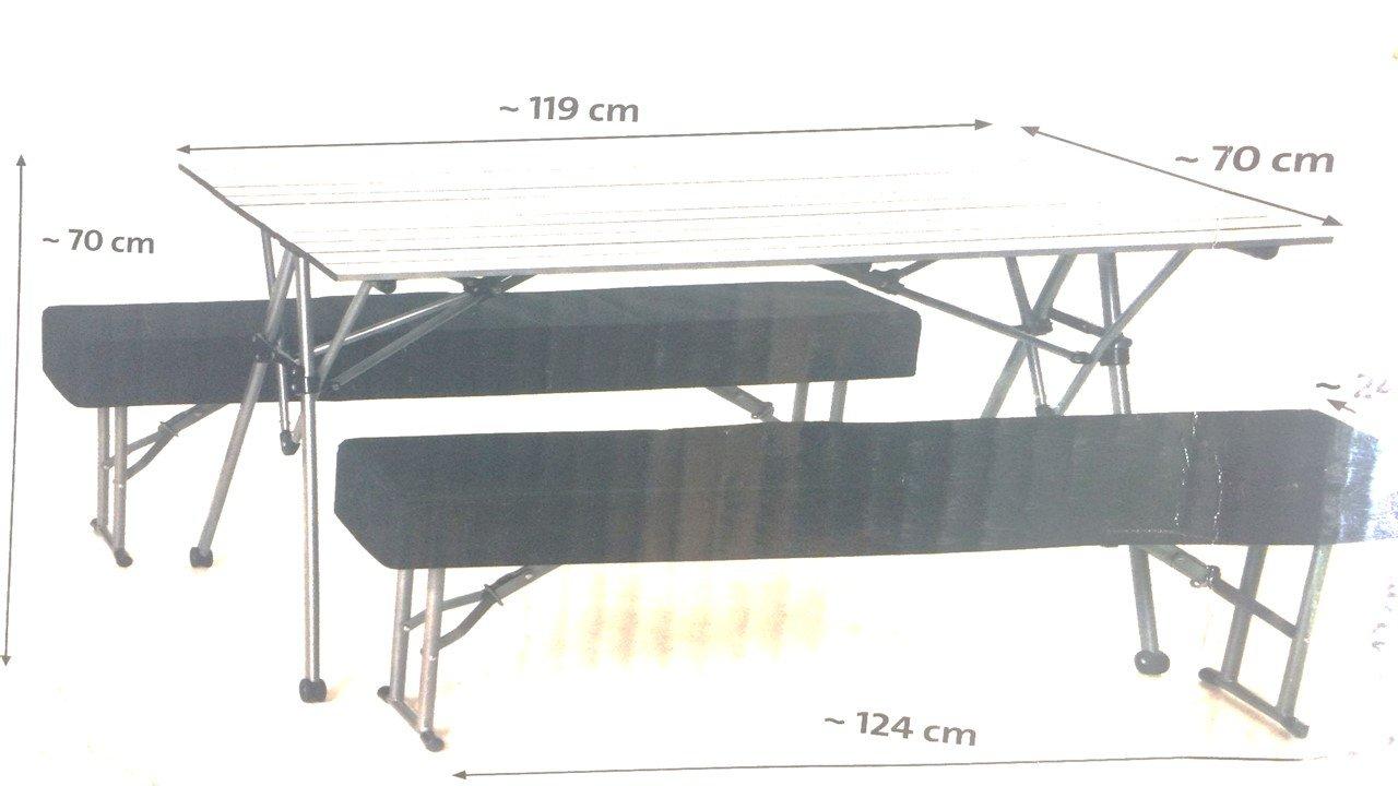 Alu Klapptisch mit Bänken Sitzgarnitur für Camping - Mobiles Tisch-Bank-Set für 4 Personen Biertischgarnitur von Conny Clever