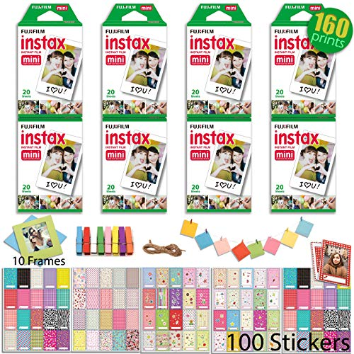 Fujifilm INSTAX Mini Instant Film 8 x Twin Pack – 160 Prints (White Border) with 100 Picture Frame Stickers and 10 Hanging Frames