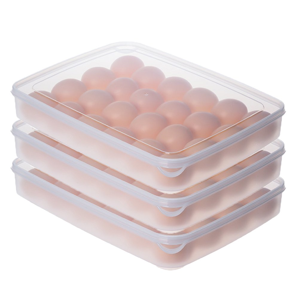 24 Grids Egg Storage Box Kitchen Storage Containers Food Container Keep Eggs Fresh Refrigerator Organizer (3pcs)