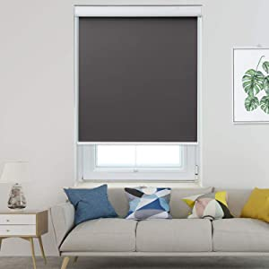 Allesin Blackout Roller Shades Window Shades and Cordless Blinds for Home & Office, Gray, 23 x 72 Inch (Upgraded Style)
