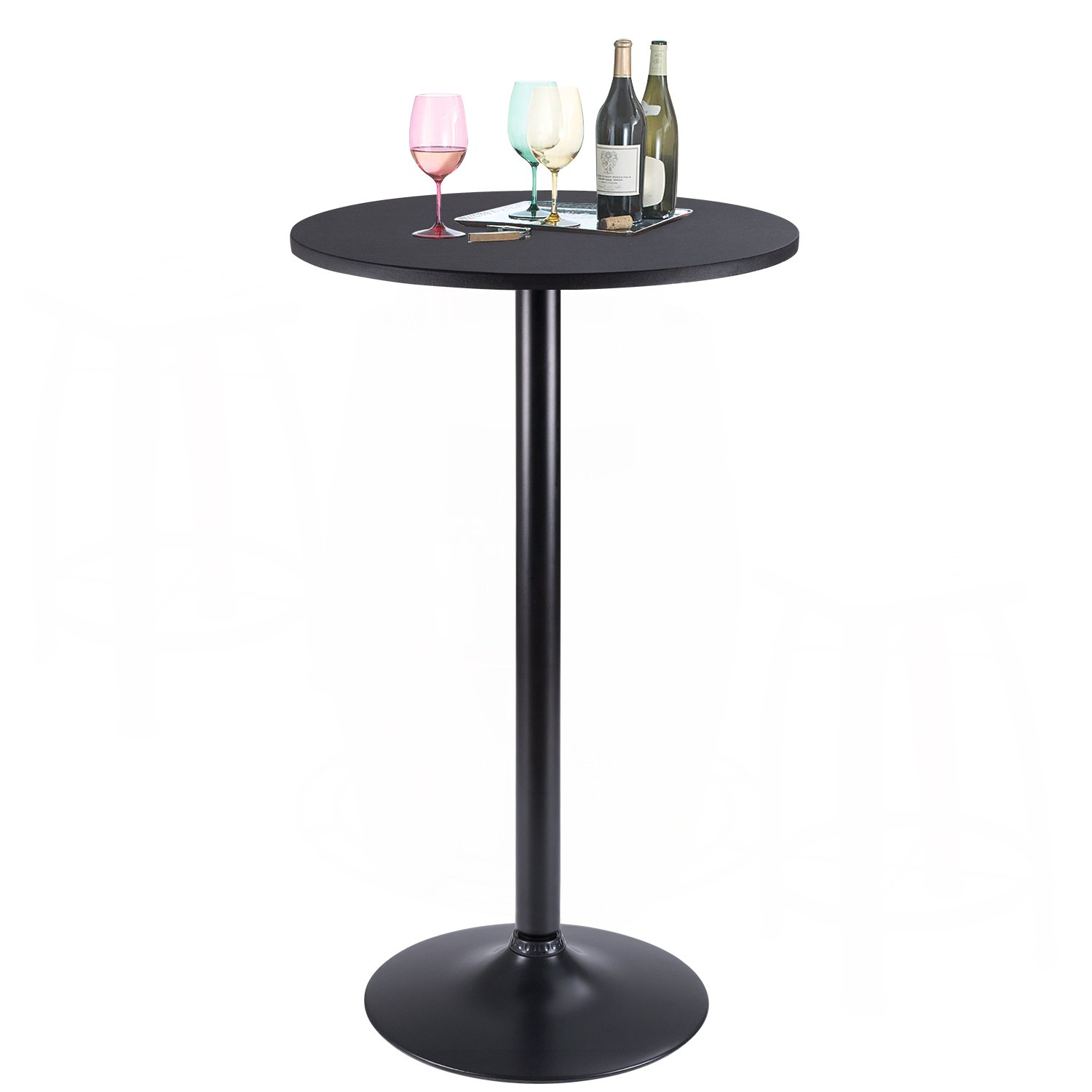 Furmax Bistro Pub Table Round Bar Height Cocktail Table Metal Base MDF Top Obsidian Table with Black Leg 23.8-Inch Top, 39.5-Inch Height