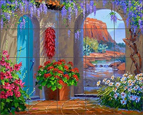 Ceramic Tile Mural Backsplash - Courtyard Landscape - Whispers of Sedona by Mikki Senkarik - Kitchen Bathroom Shower (21.25