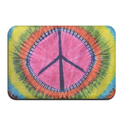 Haidilun Tie Dye Peace Sign Bathroom Rugs Non Slip Bath Mat For Bathroom Kitchen Bedroom