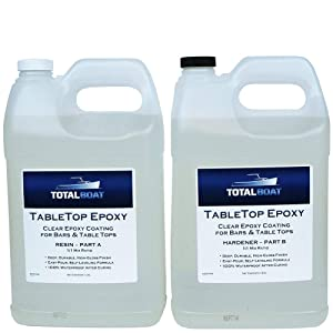 Crystal Clear Epoxy Resin   TotalBoat 2 Gallon Epoxy Resin & Hardener Kit For Bar, Table Tops & Countertops   Pro Epoxy Coating For Wood, Concrete, Art