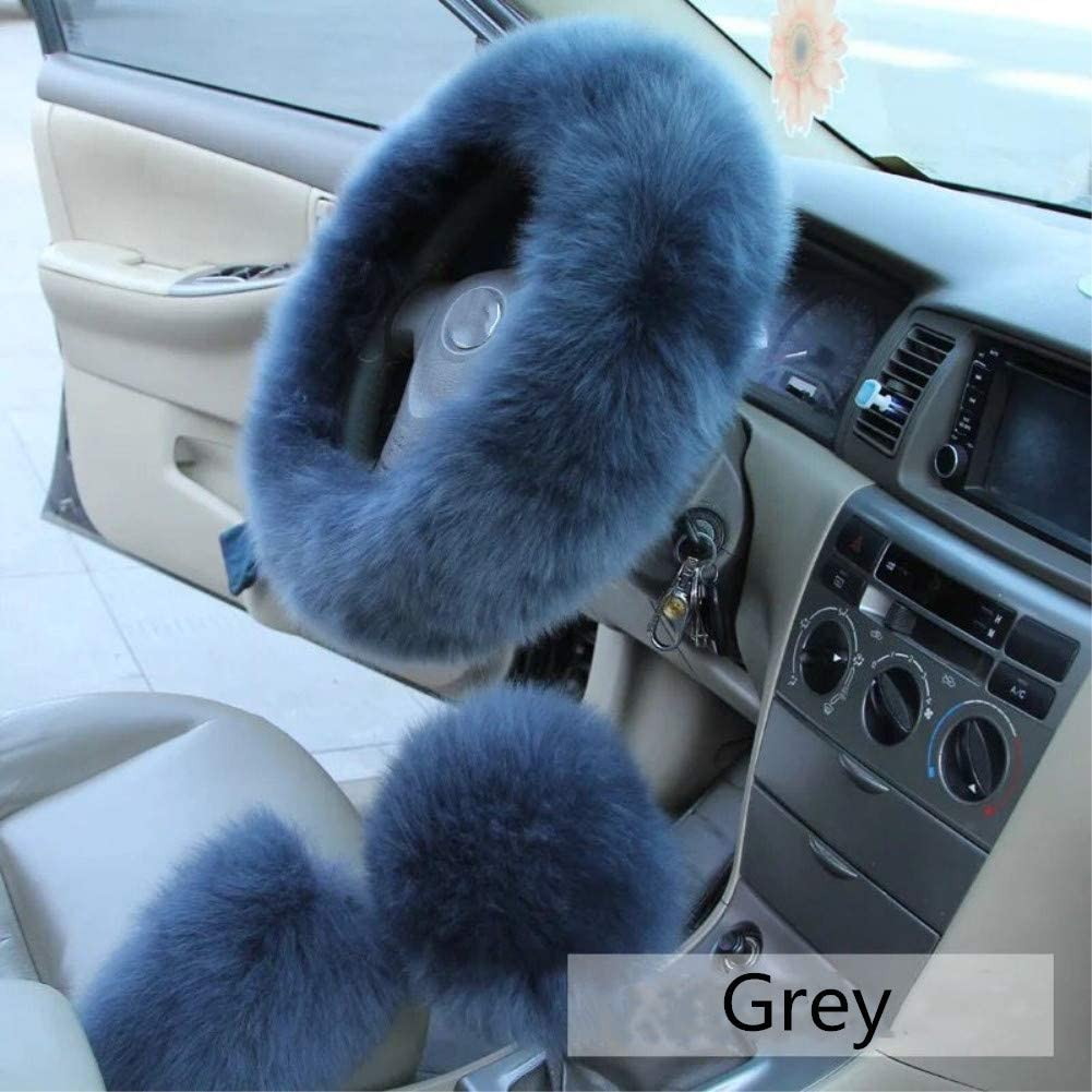 Black 3 Pcs Plush Steering Wheel Covers Kit Mioke 100/% Wool Winter Warm Fluffy Wheel Cover No smell Non-Slip Anti-Shedding with Handbrake /& Gear Shift Cover Universal Size 37-39cm