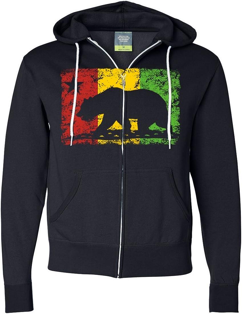 California Rasta Flag Silhouette Zip-Up Hoodie