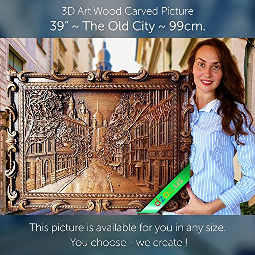 39'' The Old City 99cm Wood carving 3D painting icon orthodox art by Wood Carving Dzoz