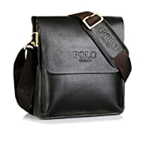 Genuine Leather Videng POLO Brand Men Messenger cross body shoulder Travel vintage Bag-Dark Brown