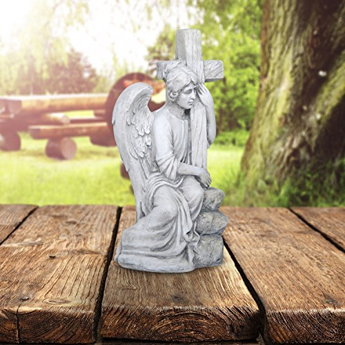Old White Tone Sitting Male Angel with elegant wings embraces a sacred cross Garden Statue Outdoor Sculpture Décor Art 13 Inches