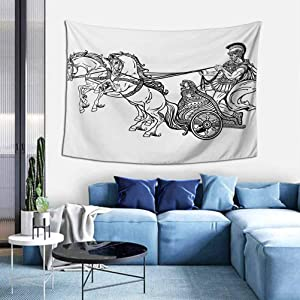 Toga Party Tapestry Wall Hanging Roman Warrior in a Chariot Pulled by Two Horses Historic Carriage Monochrome Wall Tapestries for Living Room Decor W35 x L45 inch Black White