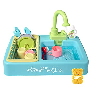 URTOYPIA Toy Kitchen Sets for Girls, Dishwasher Play Kitchen Toy Set with  Faucet Drain Wash Basin Simulation Kitchen Supplies for Kids Toddlers Boys  ...