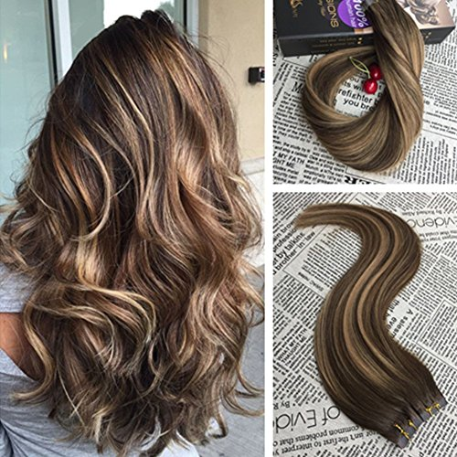 Moresoo Hair Extensions Tape in Real Human Hair 22 Inch 100G 40PCS Full Head Balayage Color Chocolate Brown #4 Fading to Caramel Blonde #27 Mixed Brown #4 Remy Real Hair Extensions PU Tape
