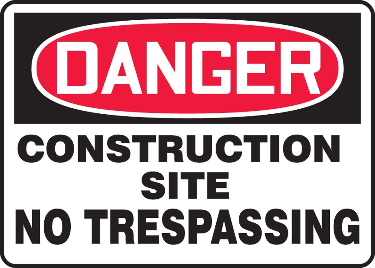 AccuformDanger Construction Site No Trespassing Safety Sign MCRT123XF 7 x 10 Inches Dura-Fiberglass