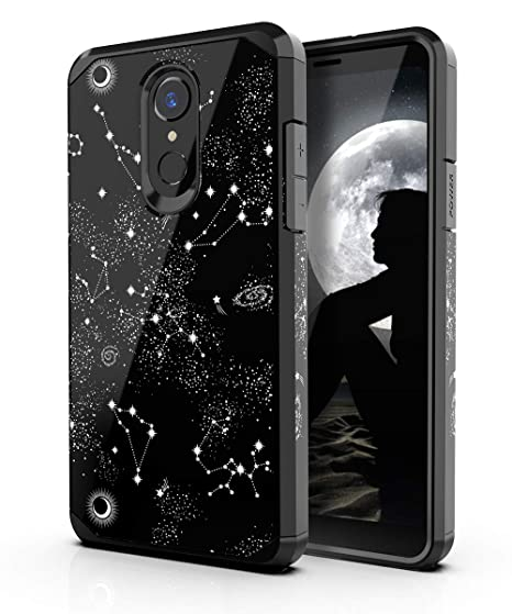 PBRO LG Stylo 4 Phone Case/LG Stylo 4 Case/LG Q Stylus Case,Cute Universe Constellation Case Dual Layer Soft Silicone & Hard Back Cover Heavy Duty ...
