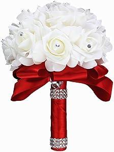 StillCool Wedding Bouquets, Crystal Pearl Silk Roses Bridal Bridesmaid Wedding Hand Bouquet Artificial Fake Flowers (18cm24cm, Red)