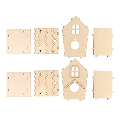 Exceart 2Pcs Kids DIY Wood Bird House Wooden Craft Kit Arts Crafts Construction Wood Model Kit Toy Projects for Boys Girls: Home & Kitchen
