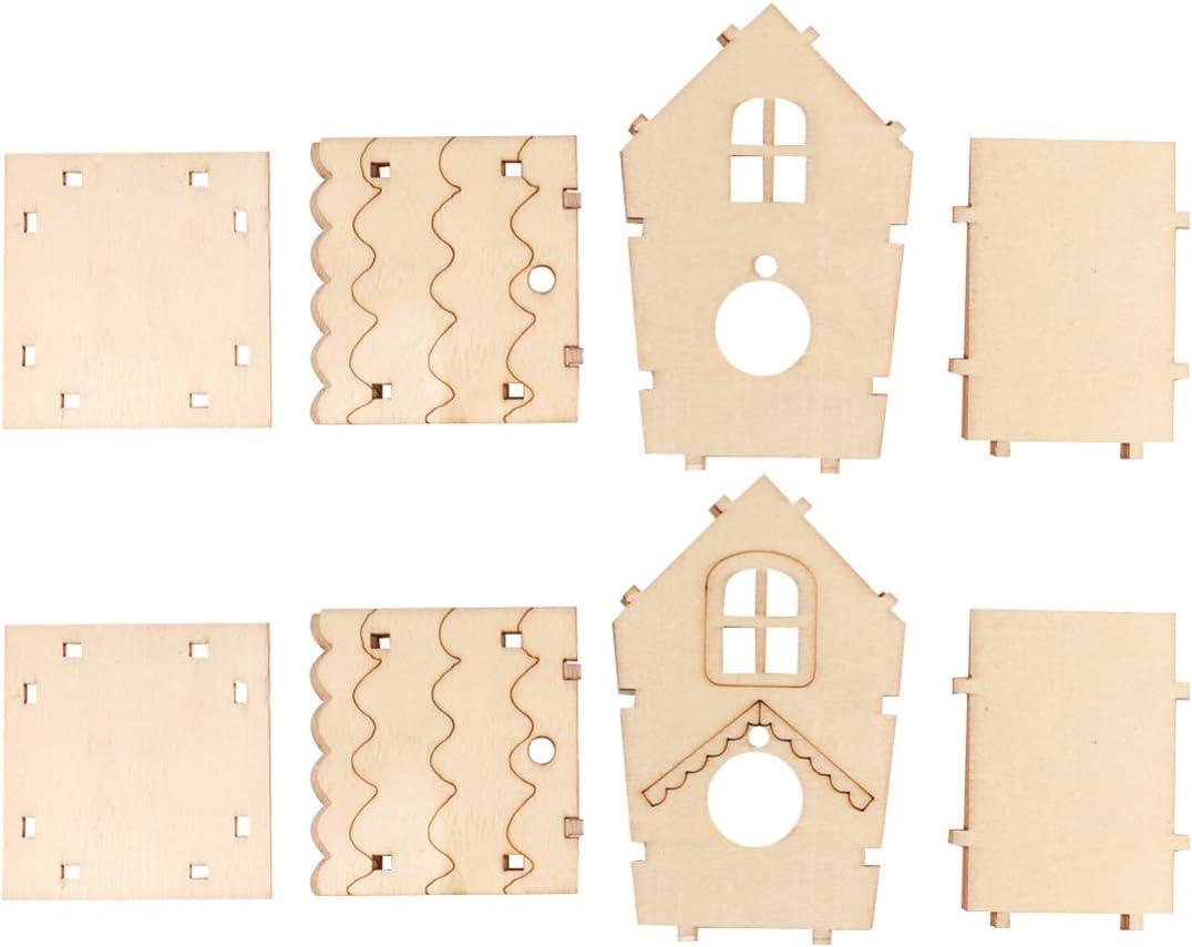 HEALLILY 2 Piezas DIY Kit de Casa de Madera para Pájaros Nido de Pájaro de Madera sin Terminar Caja de Artesanía para Niños para Jardín Exterior Decoración Colgante para El Hogar