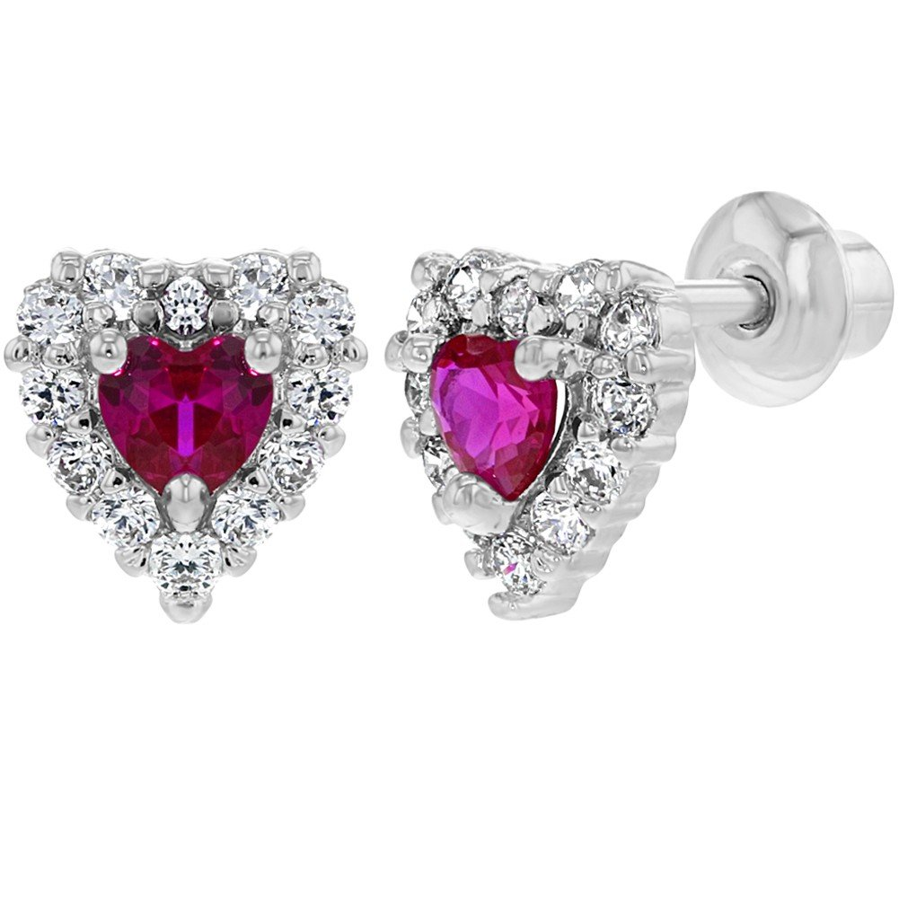 Rhodium Plated Small Hot Pink Clear Heart Baby Girl Screw Back Earrings In Season Jewelry 03-0984