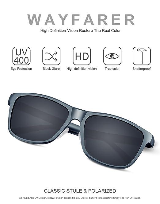 PAERDE Unisex Retro Al-Mg Metallrahmen polarisierte Sonnenbrille für Männer Frauen (Schwarzer Rahmen&Rote Linse) VOy6VhnmK