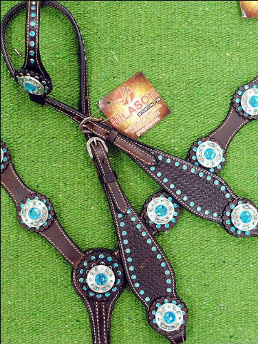 Cowhide Crystal Rhinestone (HILASON WESTERN AMERICAN LEATHER HORSE ONE EAR HEADSTALL BREAST COLLAR TURQUOISE)