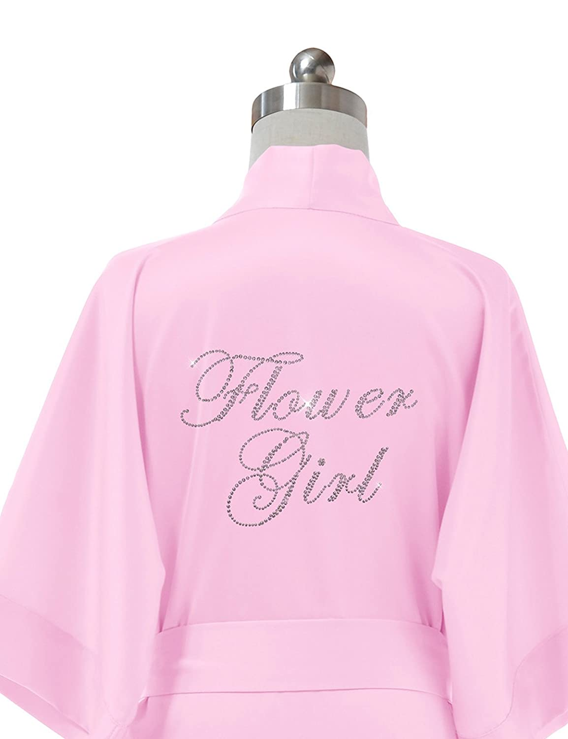 Alicepub Personalized Satin Robes Flower Girl Wedding Party Pajamas Solid Short
