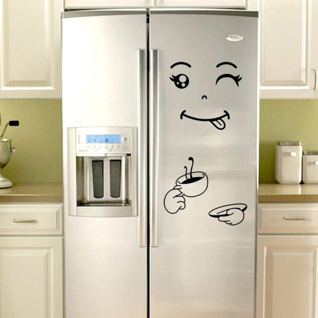 Elevin(TM) Refrigerator Stickers Wall Decals Removable Art Wall Paper Mural Home Decor (C Black) by Elevin(TM) _ Home Decor & Kitchen (Image #3)