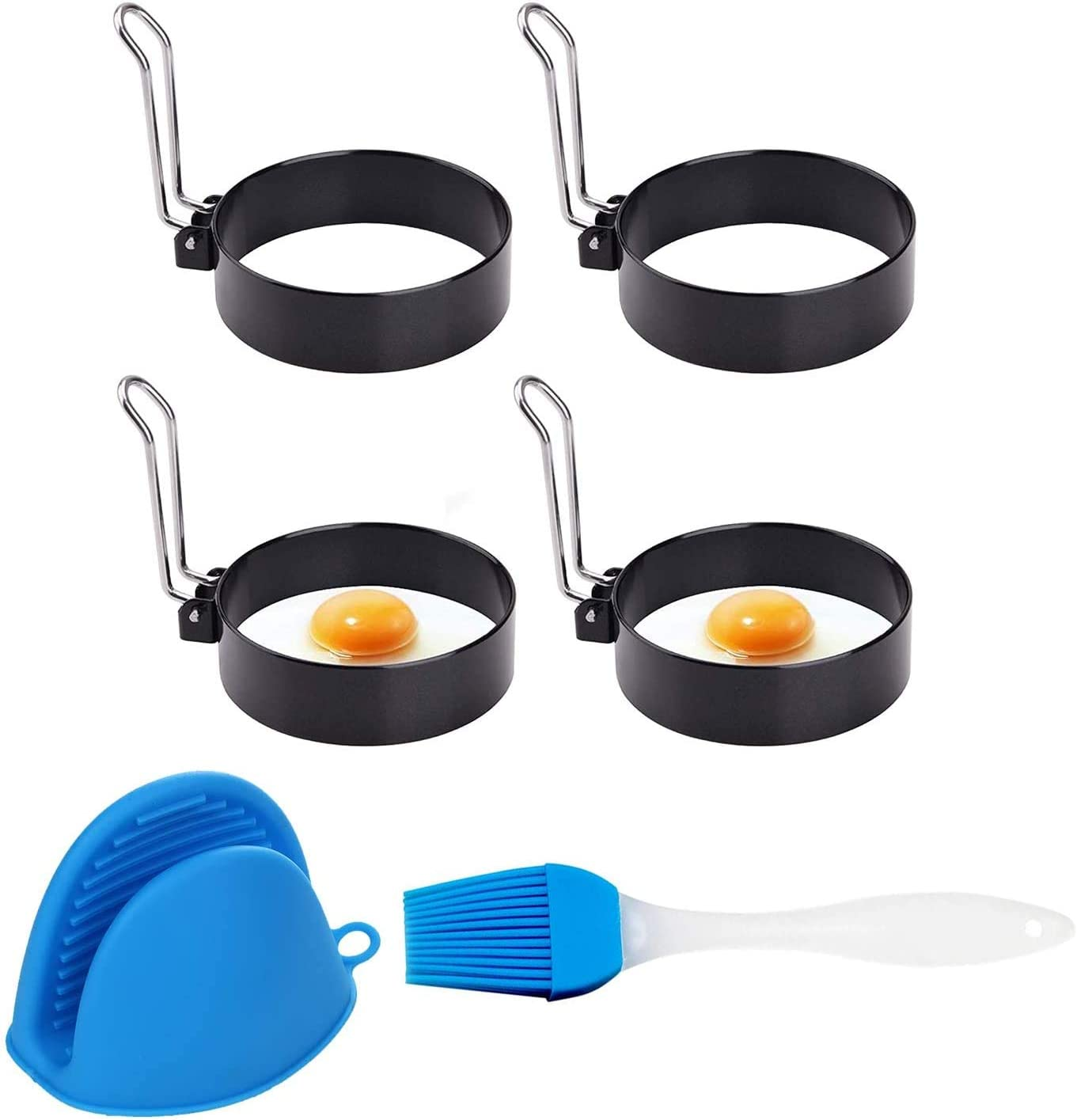 Egg Ring Mold For Cooking, Stainless Steel Egg Poacher Non-Stick Fried Egg Maker Mold Round Egg Cooker Rings With brush kitchen Tools With Oven Glove