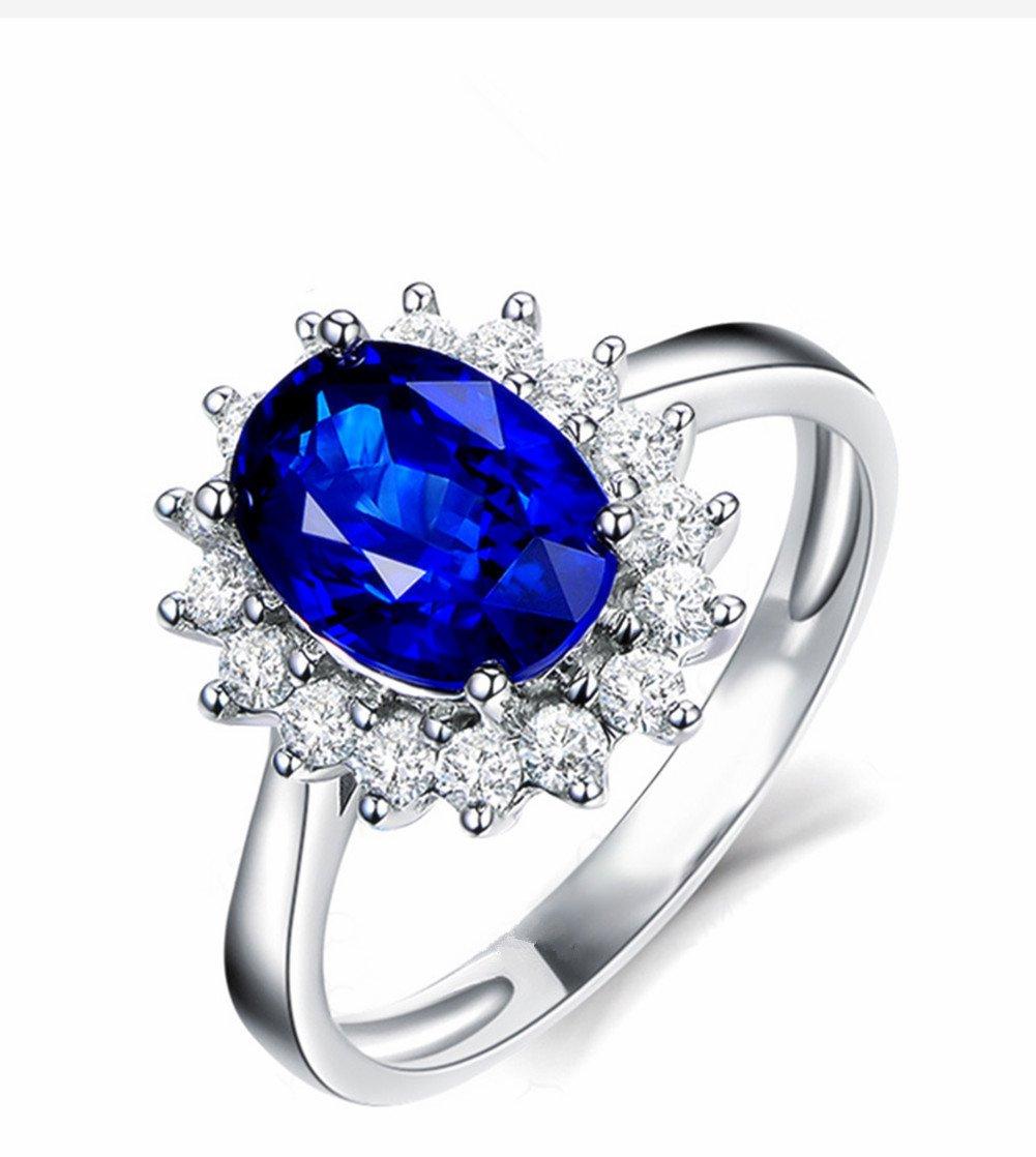 WeiMay Ladies Silver Rings Elegante Blue Diamond Ring Jewellery per le donne Ragazze Wedding Anelli di fidanzamento Accessori Regalo di compleanno US Code 7