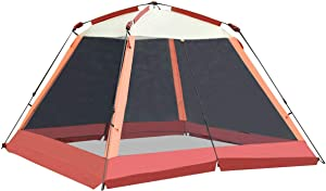 Tangkula 6 Person Outdoor Sunshade Tent Screen House Automatic Pole Fast Setup Family Picnic Camping Lightweight, Orange Yellow and Black, 10'x10'x7' (AM1704HM)