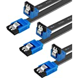 BENFEI SATA Cable III, 3 Pack SATA Cable III 6Gbps 90 Degree Right Angle with Locking Latch 18 Inch for SATA HDD, SSD, CD Dri