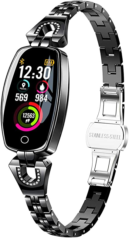Females Smart Watch, Exquisite Fitness Tracker, Blood Pressure/Heart Rate/Sleep Monitor for Women (H8 Black)
