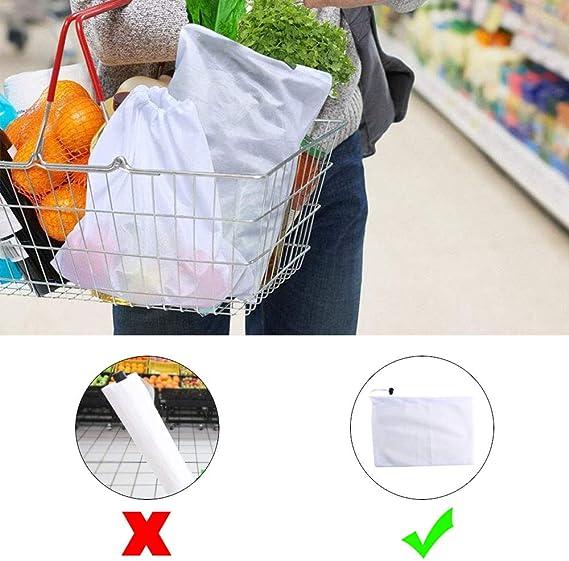 ETSAMOR 9 Pcs Bolsas de Tela Reutilizables y ecol/ógicas Bolsas de Red Bolsas Transpirables con cord/ón Vegetal Fruta Verduras Alimentos Productos agr/ícolas 3 Tama/ño