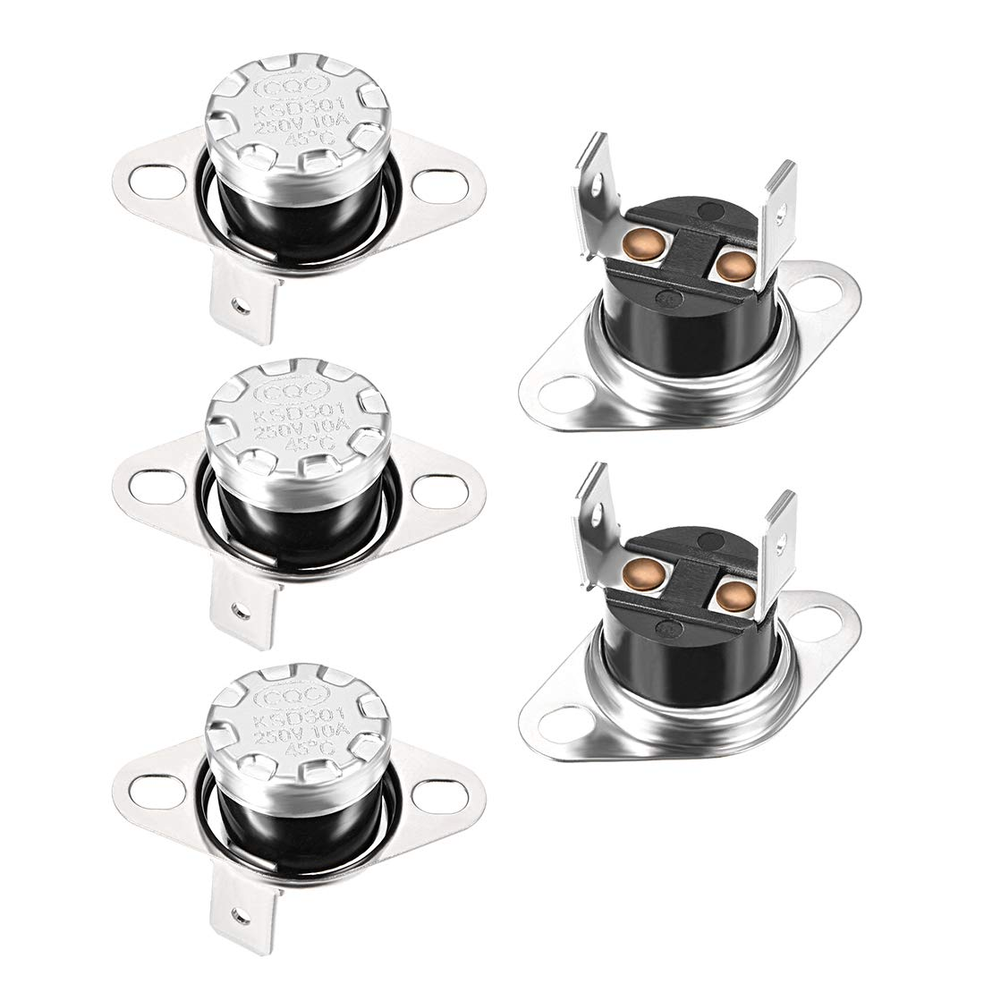 Adjust Snap Disc Limit Control Switch Microwave Thermostat Thermal Switch 45/°C 10A Normally Closed N.C 5pcs uxcell KSD301 Thermostat