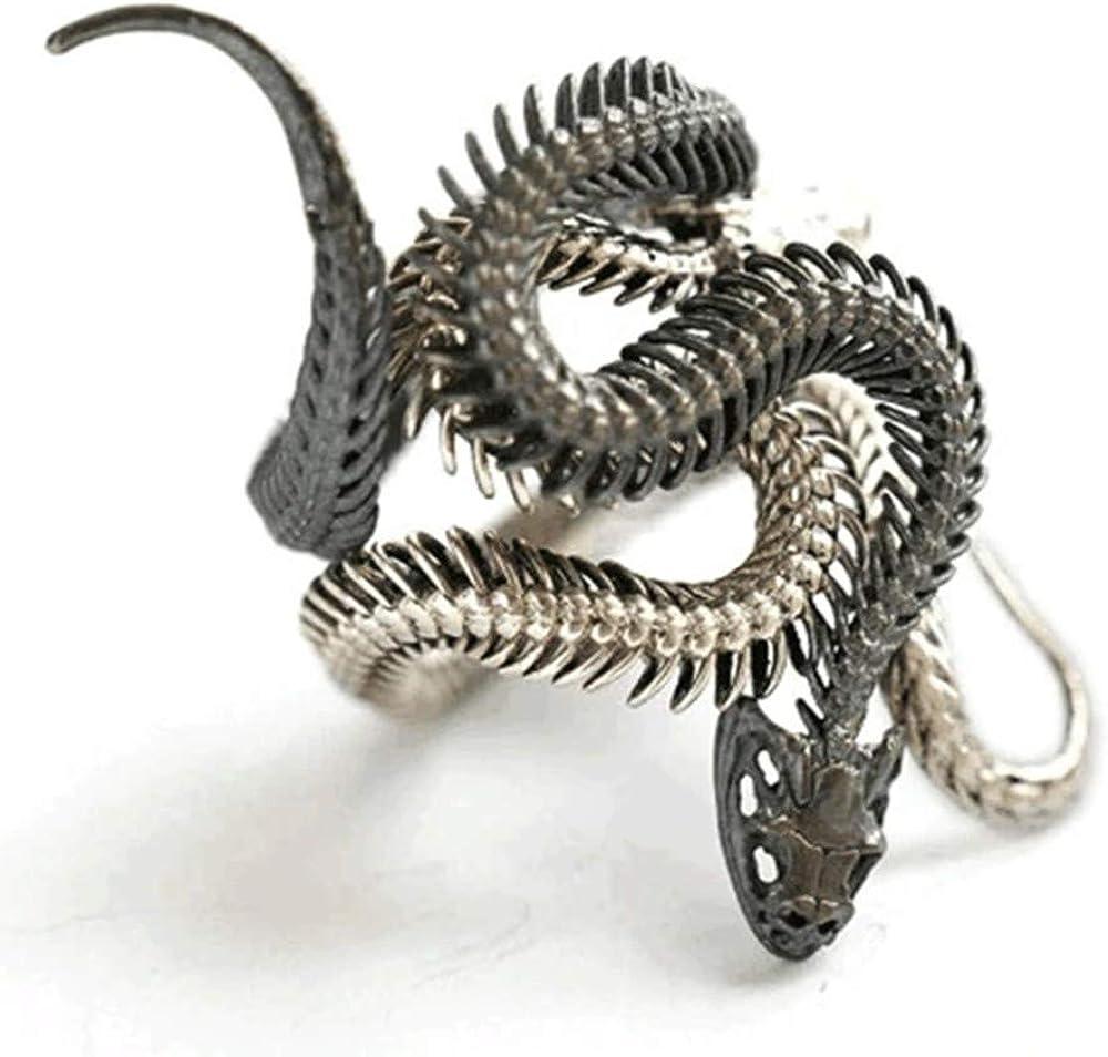 Dan's Collectibles and More Snake Serpent Ring Double Skeleton Silver Black Ouroboros Cobra Diamond Leviathan Poseidon Coiled Jungle Sea Beach Pirate HP Lovecraft Cobra Resize-able (DBLSKLSNK)
