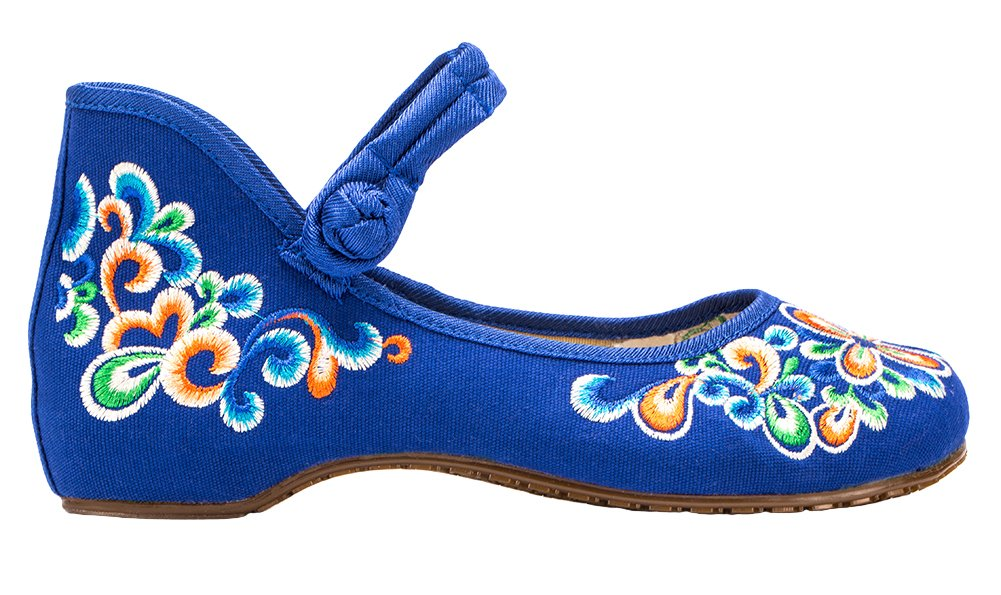 AvaCostume Women's Chinese Embroidery Casual Mary Jane Travel Walking Shoes Blue 37