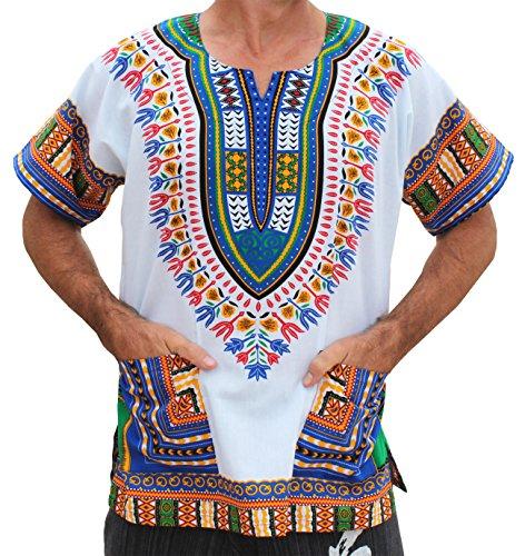 RaanPahMuang Brand Unisex Bright African White Dashiki Cotton Shirt #89 Aqua blue Medium by RaanPahMuang (Image #1)