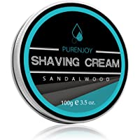 PURENJOY Shaving Cream for Men, Sandalwood, 3oz Hydrating, Anti-inflammatory Rich, Help Prevent Razor Burn & Ingrown Hairs, Thick Lather for Sensitive Skin & All Skin Types