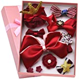 Aerolite Girl Hair Clips 10 Pcs Girl Bowknot Flower Hair Clip Multi-Style Bow Hairpin Ribbon Xmas Gift (Red)