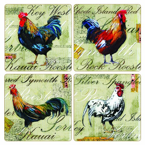 Set Coaster Collection Stone (CoasterStone AS2685 Absorbent Coasters, 4-1/4-Inch, Rooster Collection by Laura Hunter, Set of 4)