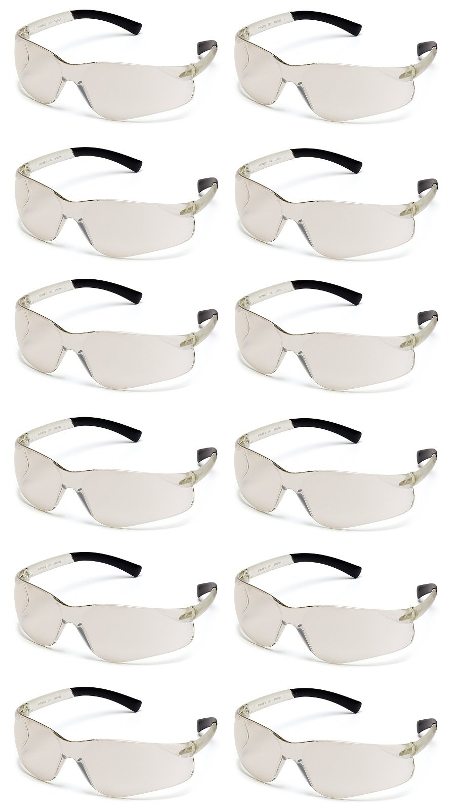 Safety Glasses,Clr/ I/O Mirror (Pack of 12)