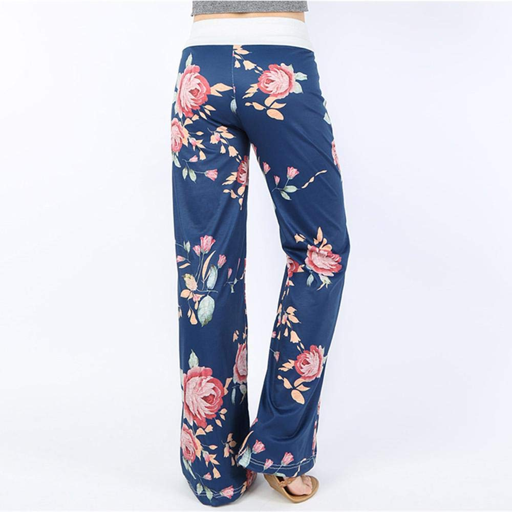 FAIYIWO Wide Leg Womens Mid Waisted Printed Casual Loose Floral Trousers FAIYIWO Navy Blue Size XXL