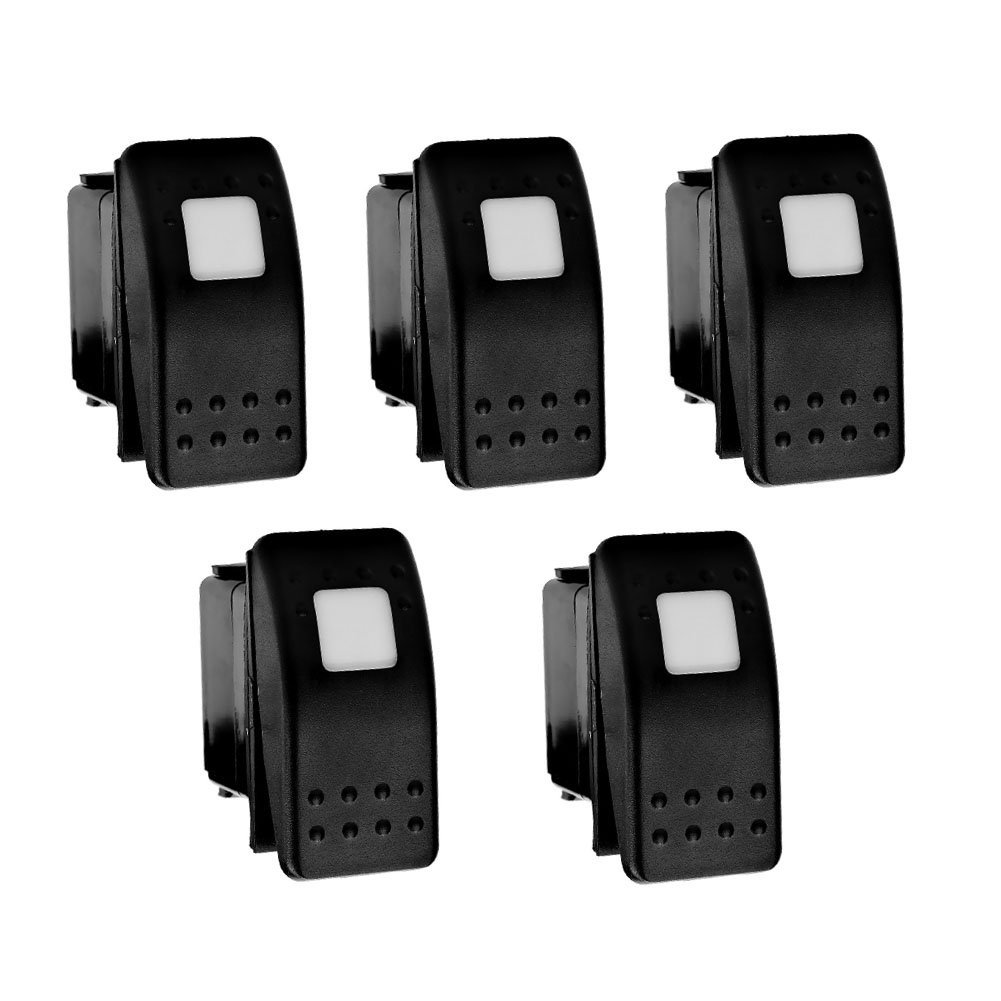XT AUTO 12V 20 Amp 3pins White Light Rocker Switch Kit 5-pack