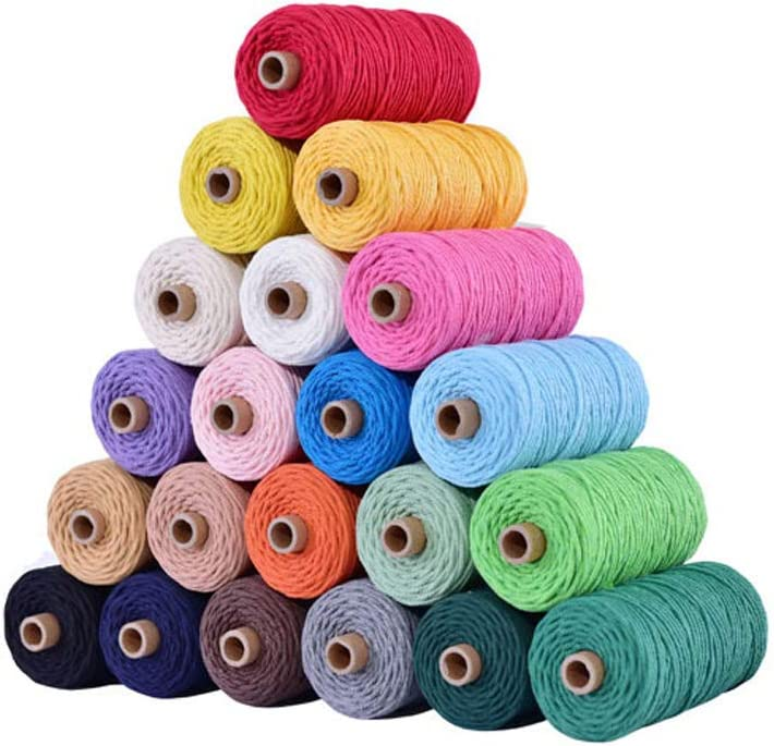 Macrame Cord 3mm x 100M Colorful Cotton Macrame Rope Twisted Soft Cotton Cord for Handmade Wall Hanging Plant Hanger Craft Making DIY Decoration Grey