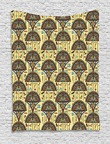 asddcdfdd Egyptian Tapestry, Colorful Folkloric Traditional Ornaments Archeology History Theme Tribal Antique, Wall Hanging for Bedroom Living Room Dorm, 60 W X 80 L Inches, Multicolor by asddcdfdd
