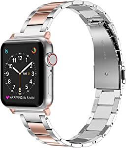 Wearlizer Stainless Steel Compatible with Apple Watch Band 38mm 42mm Women Men,Ultra-Thin Lightweight Replacement Band Compatible for iWatch Bands Series 6 5 4 3 2 1 (Series4&3Gold+Silver, 38mm 40mm)