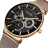 Watches for Men,LIGE Stainless Steel Waterproof Analog Quartz Watch Gents Ultra Thin Fashion Casual Dress Wrist Watch with Milanese Mesh Band Rose Gold Black